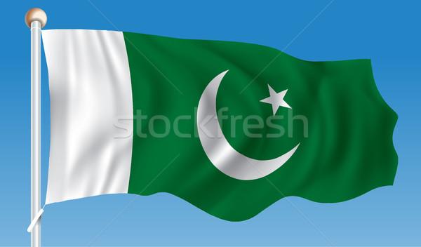 Zászló Pakisztán térkép háttér Föld felirat Stock fotó © ojal
