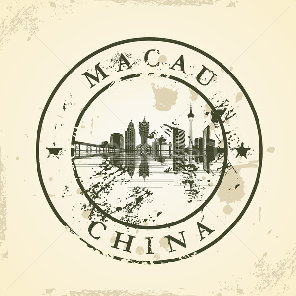 Grunge rubber stamp with Macau, China Stock photo © ojal