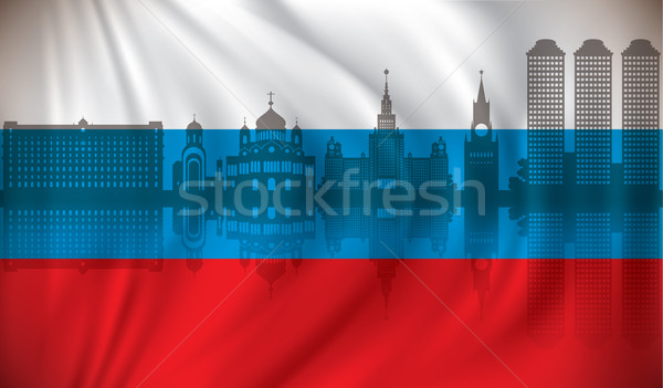 Flag of Russia with Moscow skyline Stock photo © ojal