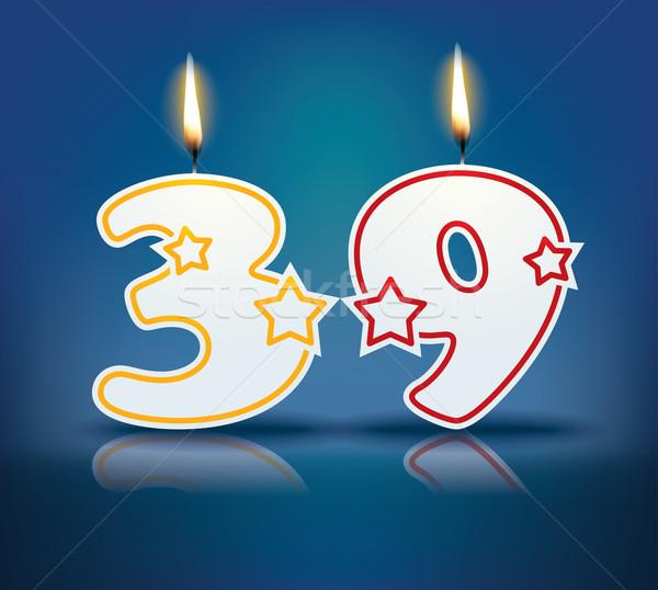 Сток-фото: рождения · свечу · числа · пламени · прибыль · на · акцию · 10