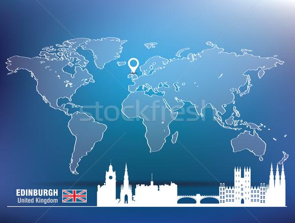 Map pin with Edinburgh skyline Stock photo © ojal