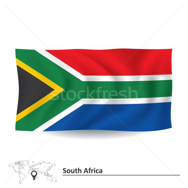 Foto stock: Bandeira · África · do · Sul · mapa · África · vento · têxtil