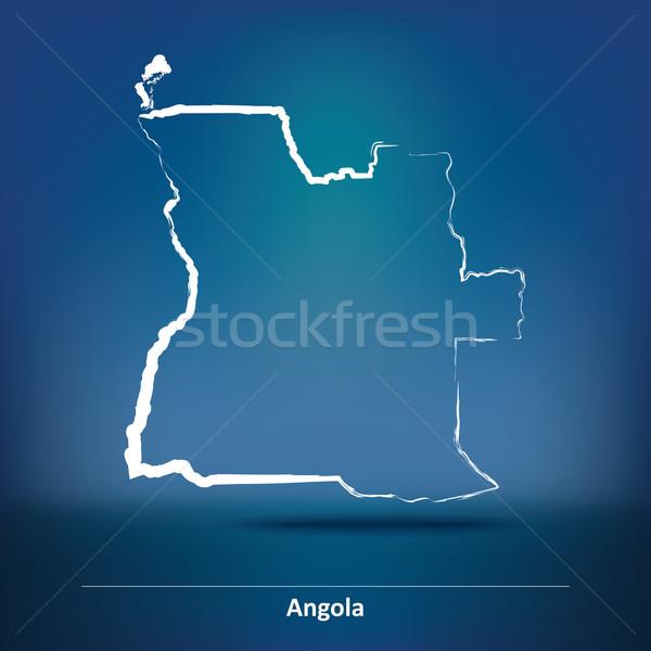 Сток-фото: болван · карта · Ангола · аннотация · фон · искусства