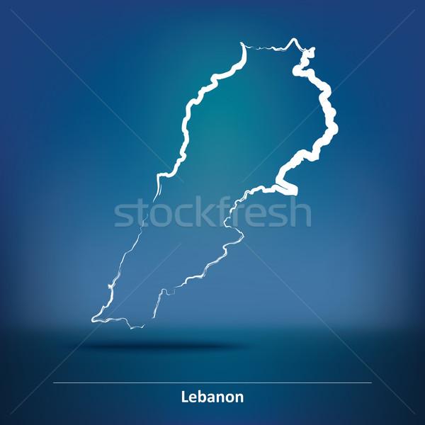 болван карта Ливан морем дизайна зеленый Сток-фото © ojal