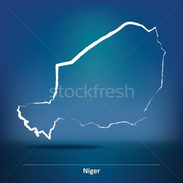Garabato mapa Níger textura verde viaje Foto stock © ojal