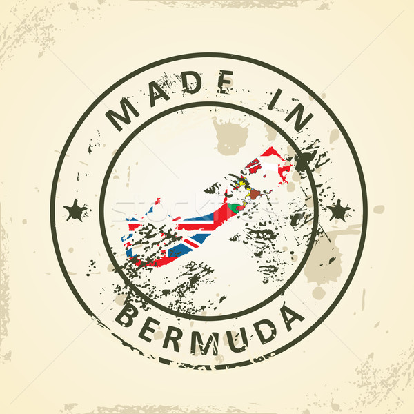 Stamp with map flag of Bermuda Stock photo © ojal