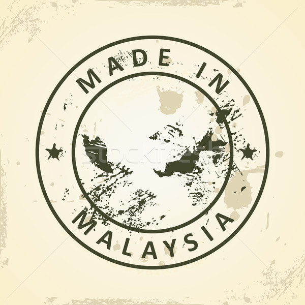 Stamp with map of Malaysia Stock photo © ojal