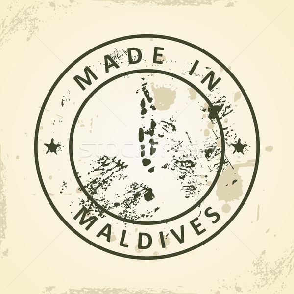 Stamp with map of Maldives Stock photo © ojal