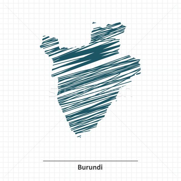 Rabisco esboço Burundi mapa textura projeto Foto stock © ojal
