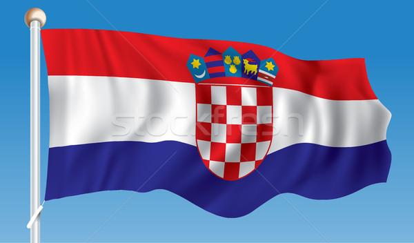Zászló Horvátország térkép absztrakt terv művészet Stock fotó © ojal