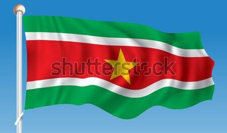 Сток-фото: флаг · Суринам · Мир · красный · силуэта · стране