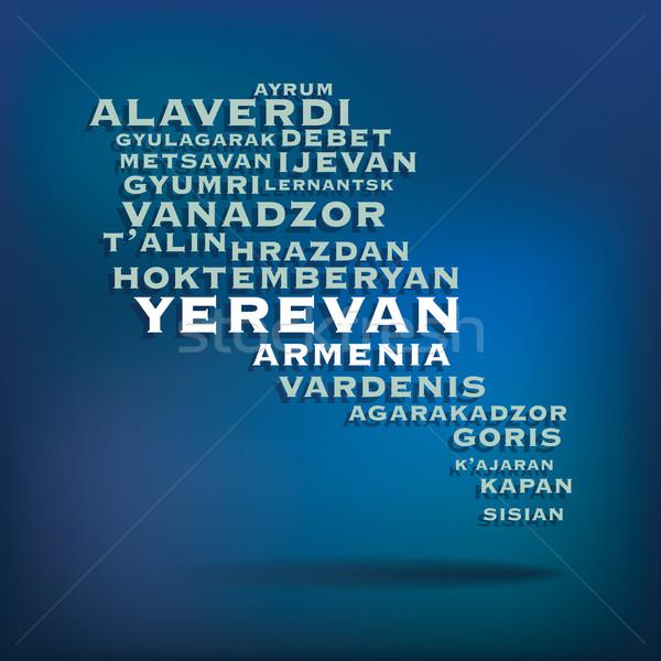 アルメニア 地図 名前 都市 旅行 シルエット ストックフォト © ojal
