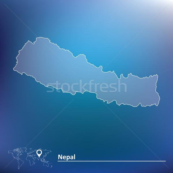 Mapa Nepal projeto fundo viajar vermelho Foto stock © ojal