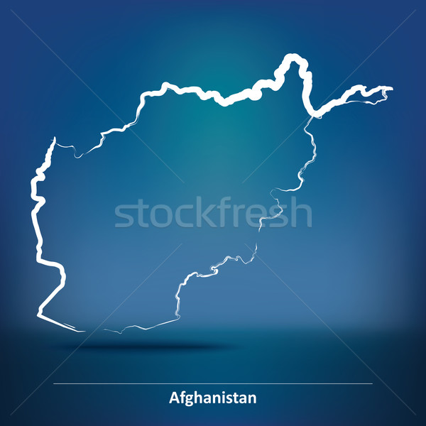 Doodle Map of Afghanistan Stock photo © ojal