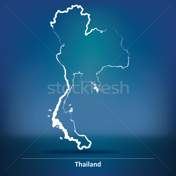 Rabisco mapa Tailândia projeto azul viajar Foto stock © ojal
