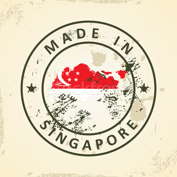 Stock photo: Stamp with map flag of Singapore