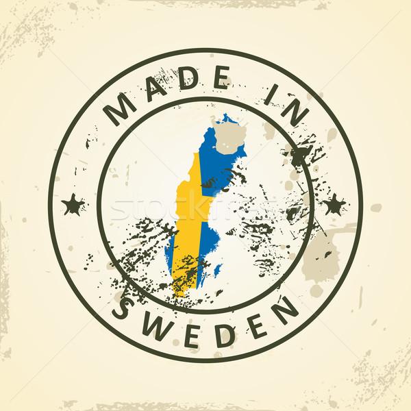 スタンプ 地図 フラグ スウェーデン グランジ 世界 ストックフォト © ojal
