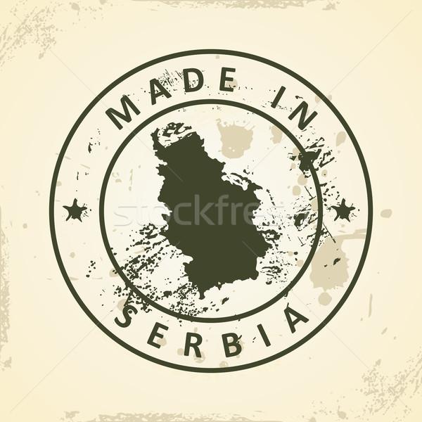 Carimbo mapa Sérvia grunge textura mundo Foto stock © ojal