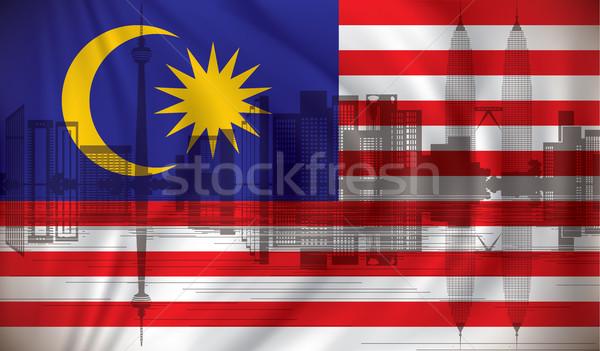 Flag of Malaysia with Kuala Lumpur skyline Stock photo © ojal