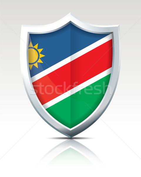 Kalkan bayrak Namibya doku güneş harita Stok fotoğraf © ojal