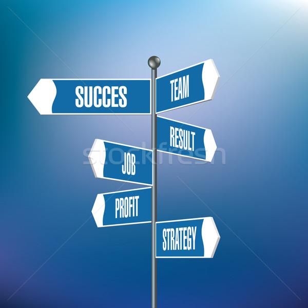 útjelző tábla motivációs szavak út utca háttér Stock fotó © ojal