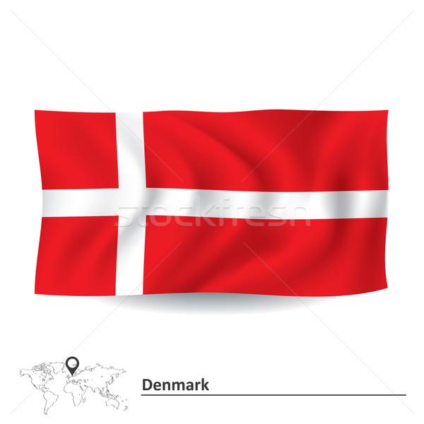 Zászló Dánia absztrakt világ sziluett fehér Stock fotó © ojal