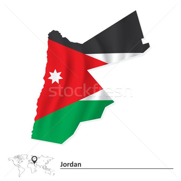 Kaart Jordanië vlag textuur teken groene Stockfoto © ojal