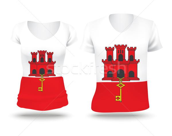 Banderą shirt projektu gibraltar kobieta człowiek Zdjęcia stock © ojal