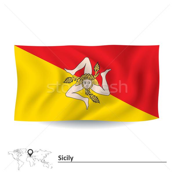 Bandeira sicília mundo viajar silhueta país Foto stock © ojal