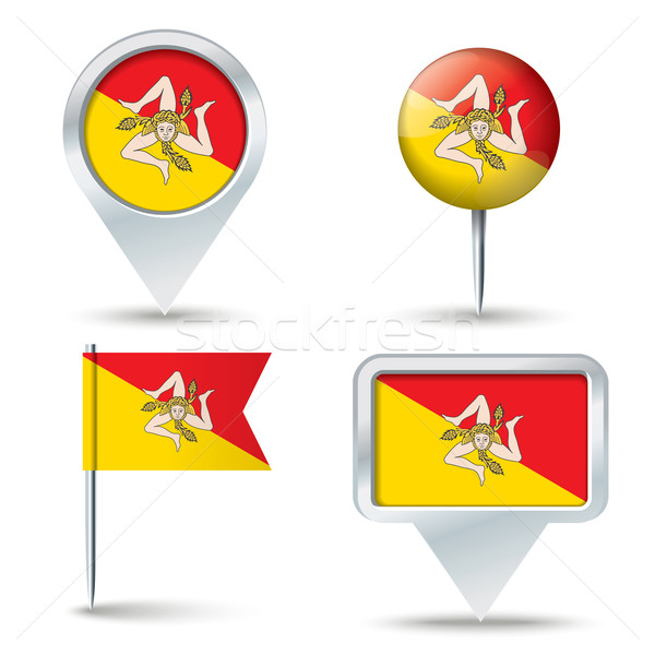 Map pins with flag of Sicily Stock photo © ojal
