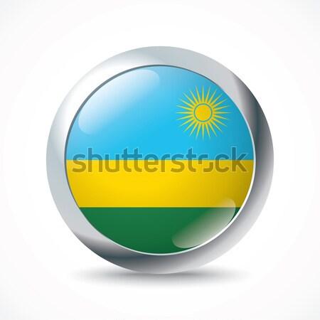 Руанда флаг кнопки Мир зеленый синий Сток-фото © ojal