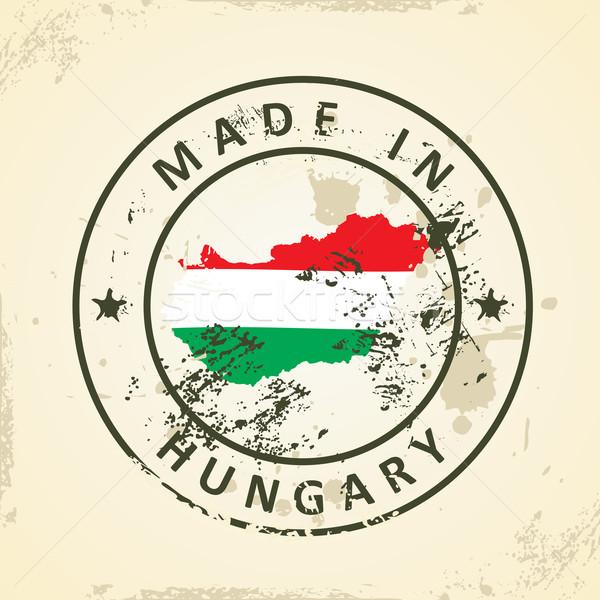 Carimbo mapa bandeira Hungria grunge abstrato Foto stock © ojal