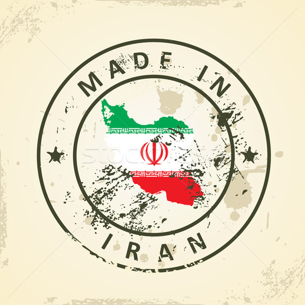 Stamp with map flag of Iran Stock photo © ojal