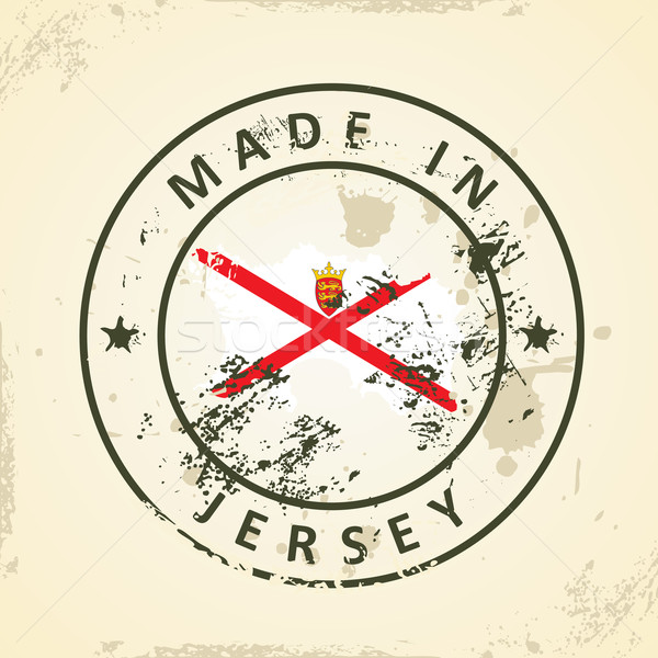 Stamp with map flag of Jersey Stock photo © ojal