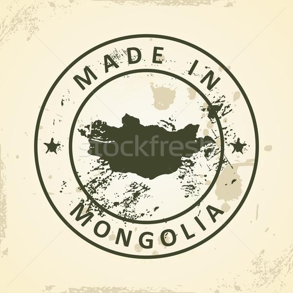 Bélyeg térkép Mongólia grunge világ felirat Stock fotó © ojal