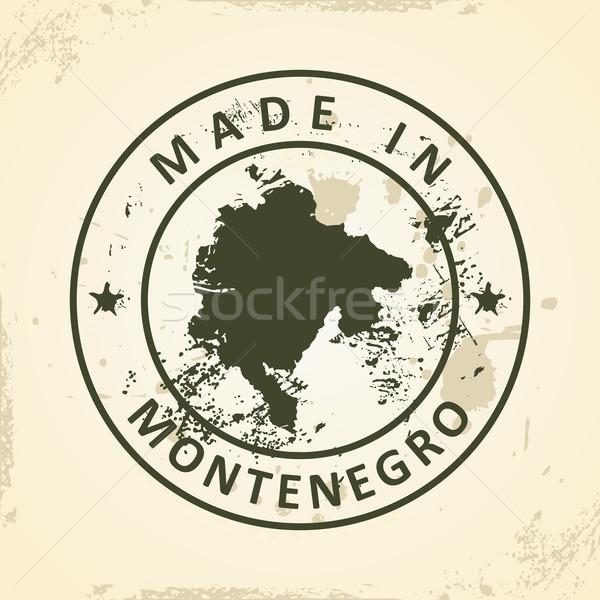 Stempel kaart Montenegro grunge zee achtergrond Stockfoto © ojal
