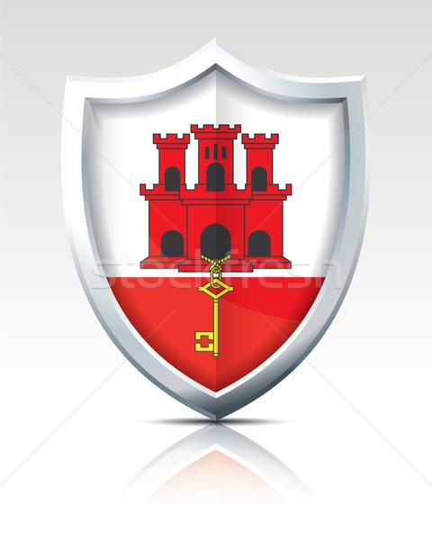 Escudo bandeira gibraltar arte silhueta país Foto stock © ojal