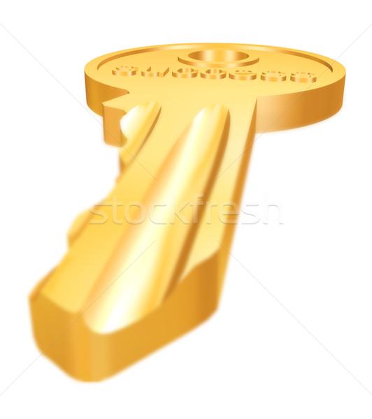 Golden Schlüssel weiß 3d render Arbeit Hintergrund Stock foto © ojal