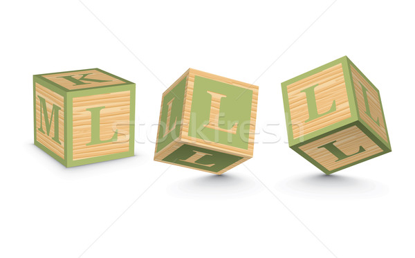 Vector letter L wooden alphabet blocks Stock photo © ojal