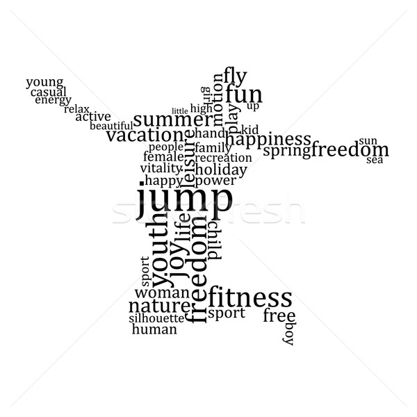 Jumping people silhouette made with words Stock photo © ojal