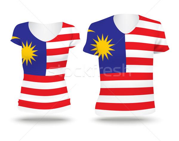 Bandeira camisas projeto Malásia mulher homem Foto stock © ojal