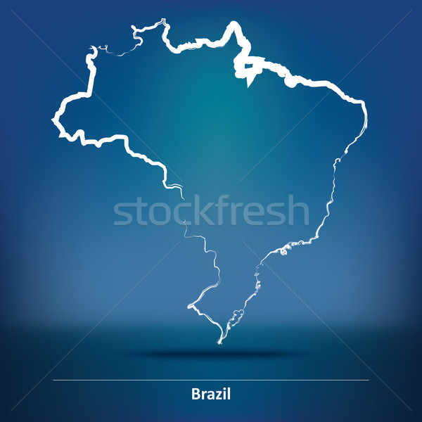 Doodle Map of Brazil Stock photo © ojal