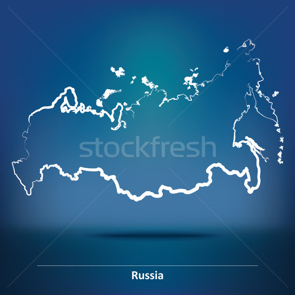 Garabato mapa Rusia diseno viaje silueta Foto stock © ojal