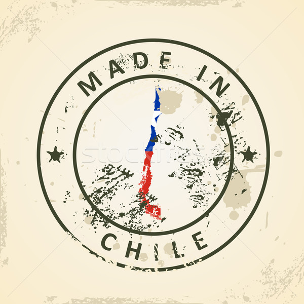 Stamp with map flag of Chile Stock photo © ojal