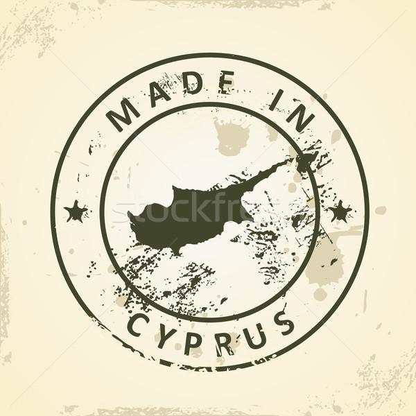 штампа карта Кипр Гранж аннотация земле Сток-фото © ojal