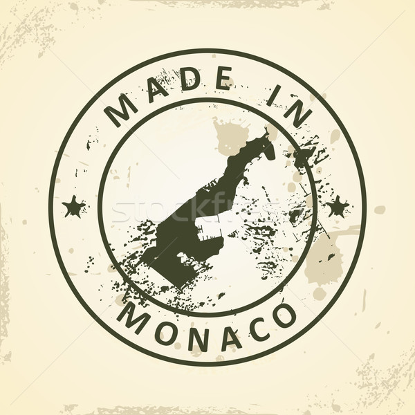 Stamp with map of Monaco Stock photo © ojal