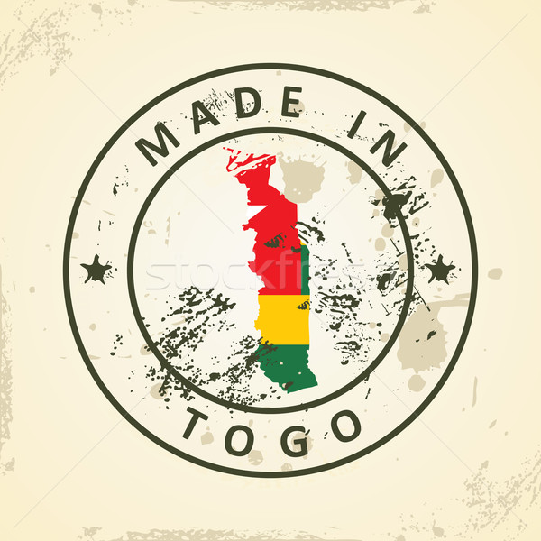 Stamp with map flag of Togo Stock photo © ojal