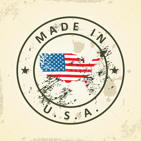 Stamp with map flag of United States of America Stock photo © ojal