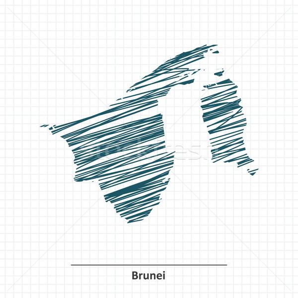 Doodle schets Brunei kaart textuur achtergrond Stockfoto © ojal