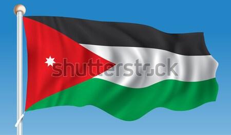 Banderą Jordania tekstury podpisania zielone wiatr Zdjęcia stock © ojal